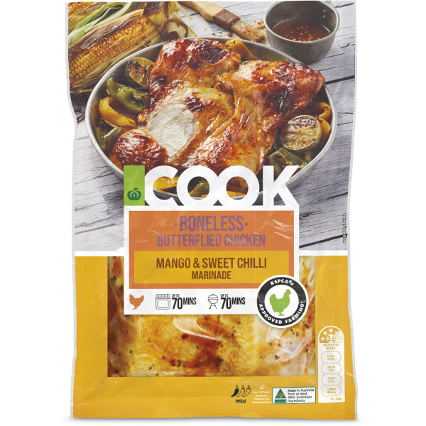 Woolworths Cook Boneless Butterflied Mango And Sweet Chilli Chicken 1kg Bunch